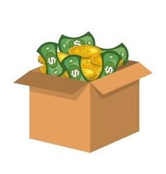 Box carton with money vector
