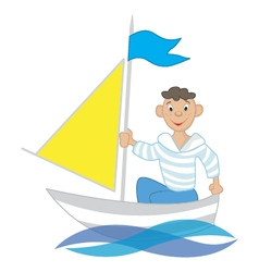 boy on a sailboat vector image vector image