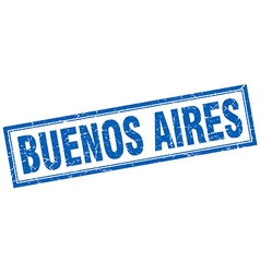 Buenos aires blue square grunge stamp on white vector