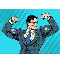 Businessman with muscles currency Euro vector image vector image