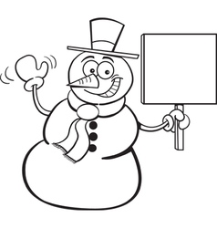 Cartoon Snowman Holding a Sign vector image vector image