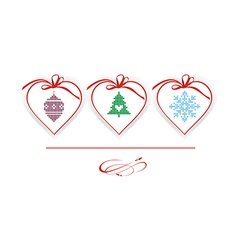 Christmas hearts with knitted elements vector