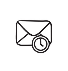 Envelope mail with clock sketch icon vector