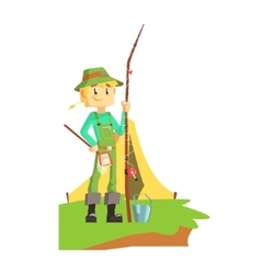 Fisherman outdoors with tent on the background vector