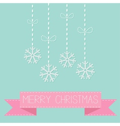 Four hanging snowflakes with dash line bows on blu vector