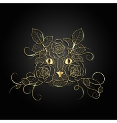 Gold ornate cat face vector image