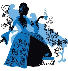 Graphic silhouette of a rococo woman vector image