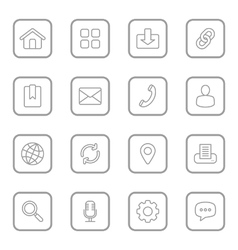 gray line web icon set rounded rectangle vector image