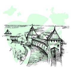 Hand drawn russian kremlin urban sketch vector