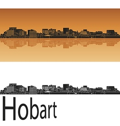 Hobart skyline in orange vector image
