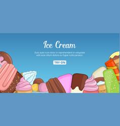 Ice cream choice banner horizontal cartoon style vector