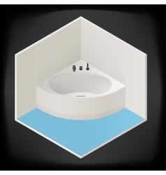 Jacuzzi corner bath isometric vector