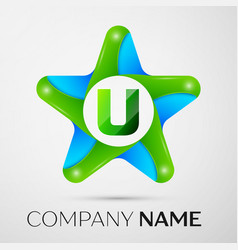 letter u logo symbol in the colorful star on grey vector image vector image