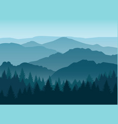 Misty blue mountain silhouettes background vector