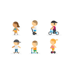 People walking on bike scooter skateboard vector