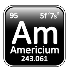 Periodic table element americium icon vector