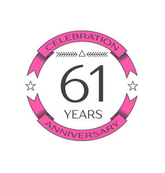 Realistic sixty one years anniversary celebration vector