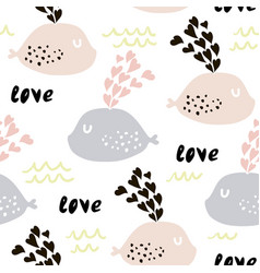 Seamless pattern with cute whales and hearts cute vector