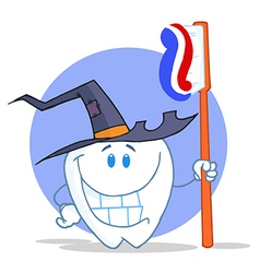 Smiling Halloween Tooth With Toothbrush vector image