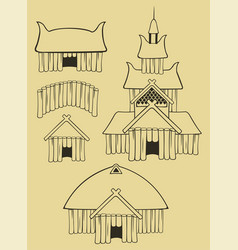 Some vikings buildings vector