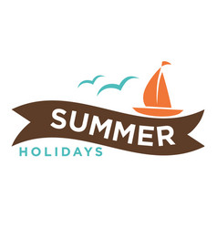 summer holidays logo with ship and seagulls vector image vector image