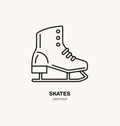 thin line icon of skates winter recreation vector image