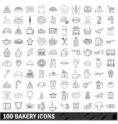 100 bakery icons set outline style vector image vector image