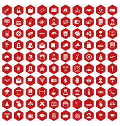100 journalist icons hexagon red vector