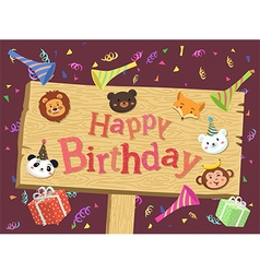 Animal Birthday Board Cartoon vector image