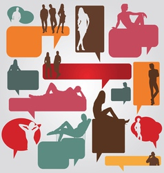 Dialog bubbles people set vector
