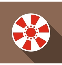Red casino chip icon flat style vector