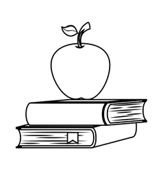 book school with apple isolated icon vector image