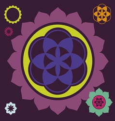 Ornamental esoteric floral elements vector