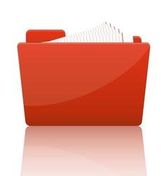 Orange file folder with paper vector