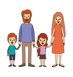 Color image caricature family with parents and vector