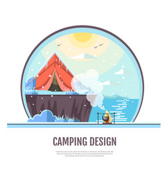 Flat style design of winter seaside and camping vector