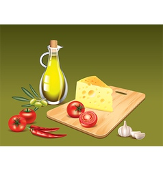 Italian food ingredients cooking background vector