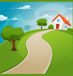 House inside green fields vector