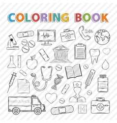 Coloring bookmedical set vector