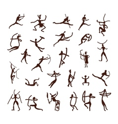 Rock paintings ethnic people sketch for your vector
