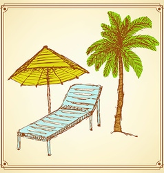 Sketch palm and deck chair in vintage style vector