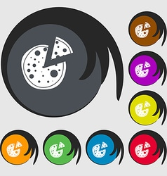 Pizza icon symbols on eight colored buttons vector