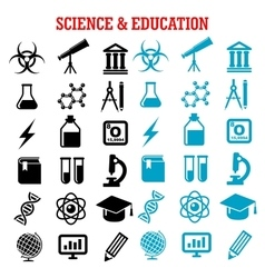 Science and education flat icons set vector