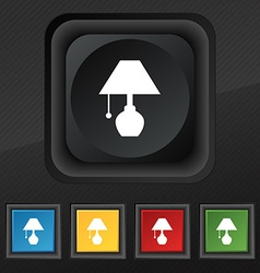 Table lamp icon symbol set of five colorful vector