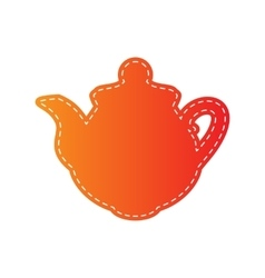 Tea maker kitchen sign orange applique isolated vector