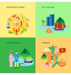 Vietnamese culture 4 flat icons square vector