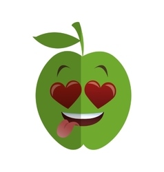 Heart eyes apple cartoon icon vector