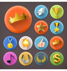 Awards and achievement long shadow icon set vector