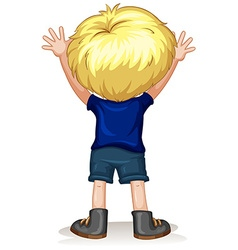 Back of a little boy with blond hair vector image vector image