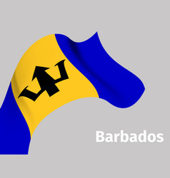 Background with barbados wavy flag vector